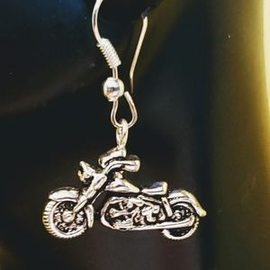 Silver Solo Motorcycle Earrings